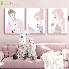 Baby Girl Room Decor Nordic Poster Nursery Kids Cartoon Wall Art Canvas Painting Posters Wall Pictures For Living Room Unframed цена