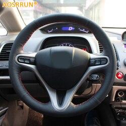 AOSRRUN سيارة التصميم الجلود مخيط يدويا عجلة توجيه سيارة يغطي لهوندا سيفيك 2005-2011 8th MK8 اكسسوارات السيارات