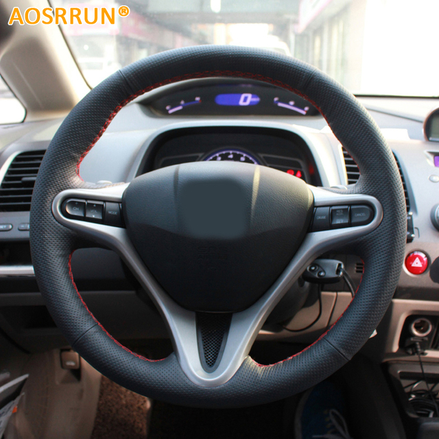 AOSRRUN Car-styling Leather Hand-stitched Car Steering Wheel Covers For Honda Civic 2005-2011 8th MK8 Car accessories