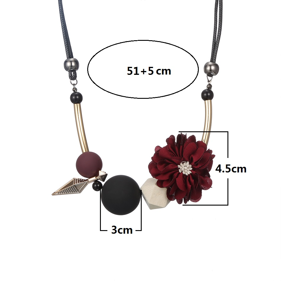 Match-Right Women Necklace Statement Flower Necklaces & Pendants Wood Beads Necklace For Women Jewelry YJZ-125 Lahore