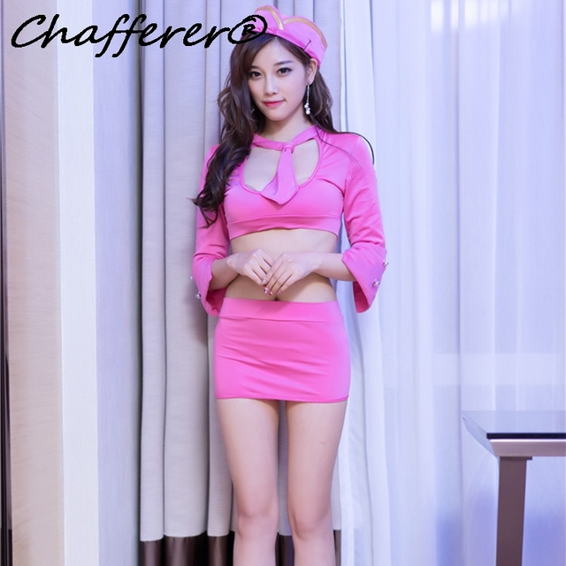 3bd7fe5d2 Chafferer نساء عاريات عبة زي مضيفة ارتداء الساخن قصيرة جديدة ol حزمة الورك ملهى  ليلي الوردي