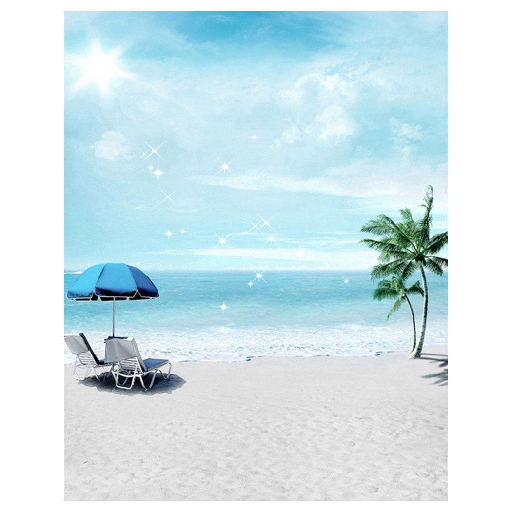 0.9x1.5m Computer Printed Fabric Vinyl Thin Photo Studio Props Photography Backdrops Blue Seaside Beach Sky Clouds Theme Light