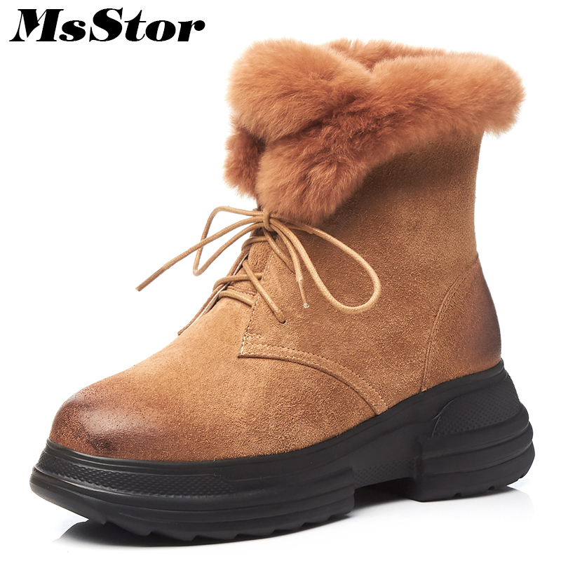 цена MsStor Women Snow Boots Fashion Thick Bottom Keep Warm Ankle Boots Winter Women Shoes Cross Tied Wool Cotton Boot Shoes For Girl