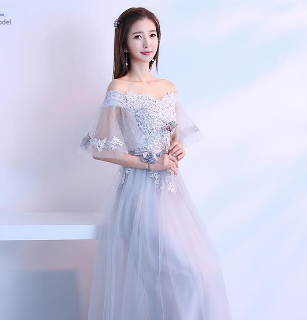 Chiffon Long   Bridesmaids     Dresses   Lace up Illusion Half Flare Sleeve Wedding Party   Dress   Sexy Ladies Formal   Dress   vestido Q013