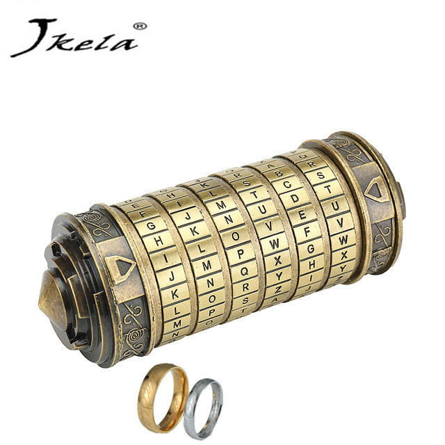[Nouveau] jouets éducatifs serrures en métal Cryptex idées cadeaux Da Vinci Code serrure pour épouser les accessoires de chambre d'évasion amoureux obtenir 2 anneaux gratuits