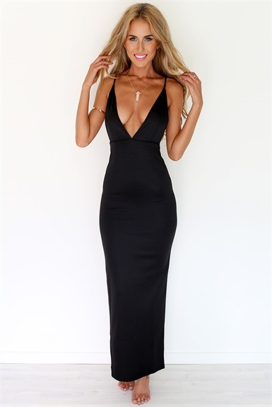 70c493af5825 2014 Hot Selling Cheap Elegant Low Cut V Neck Sexy Spaghetti Strap Long  Party Dress-in Dresses from Women s Clothing on Aliexpress.com