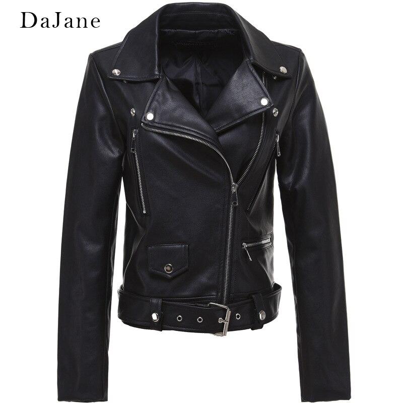 DaJane New High Waist Motorcycle   Leather   Female Handsome European Short Slim Slim Coat Chic Shirt Female Spring