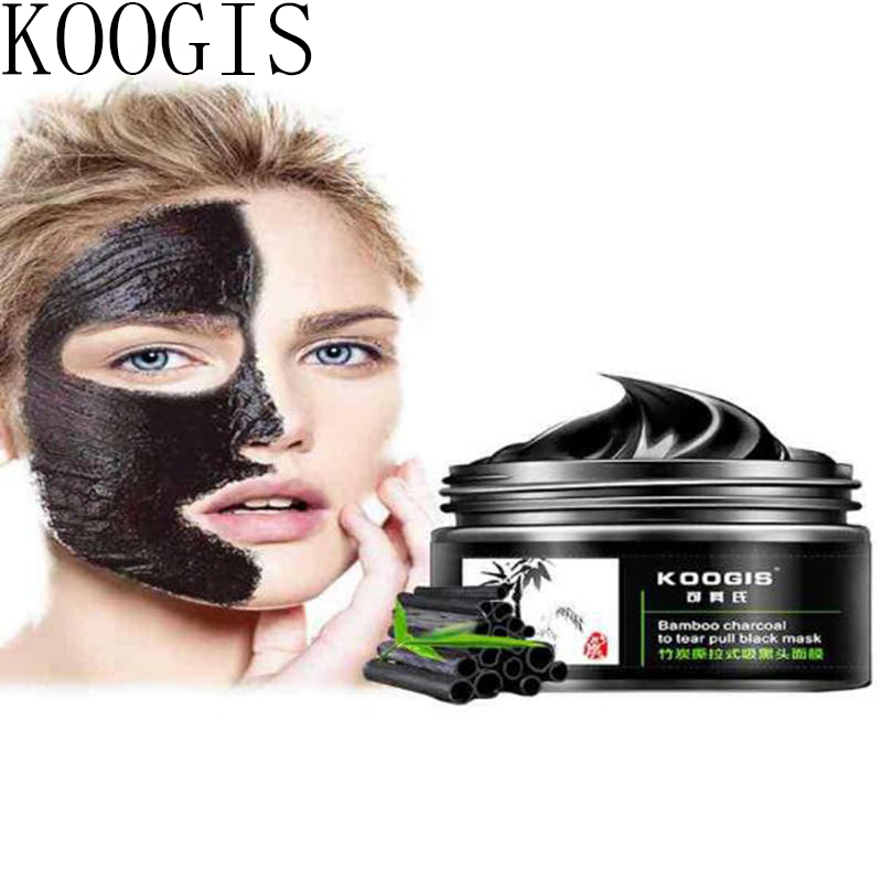 KOOGIS charcoal Face Mask,Deep Cleansing Shrink pores Black Head Resist Nose Acne Blackhead Remover peel off Mud Masks