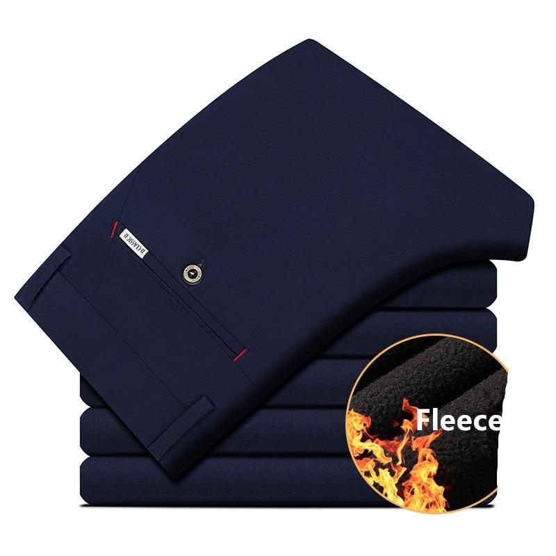 2017 warme Fleece Winter Hosen Männer Baumwolle Gerade Smart Casual Hosen Für Männer Marke Kleidung A031