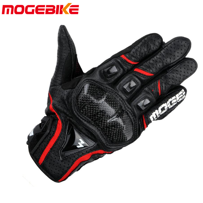 MOGEBIKE Motorcycle Touch Screen Gloves Motorcyclists Summer gloves Carbon fiber proof glove Goat leather material