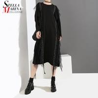 2018 Korean Style Women Solid Black Midi Dress Tapes & Rivets Long Sleeve Female Special Casual Wear Winter Straight Dress 4027