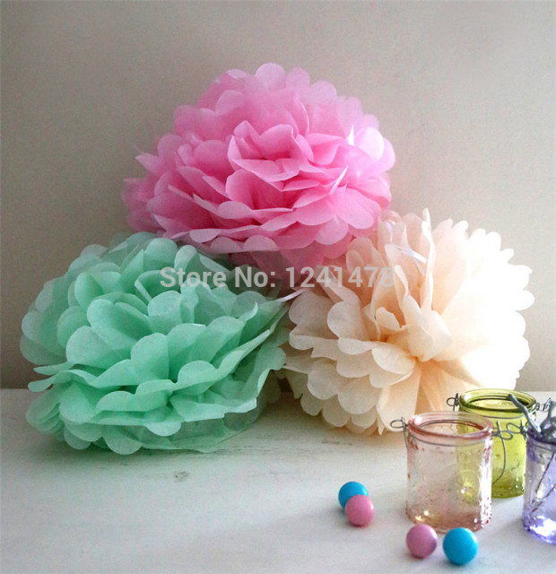 24 Colors As Chart Colored Paper Pompoms Wedding Decoration 6