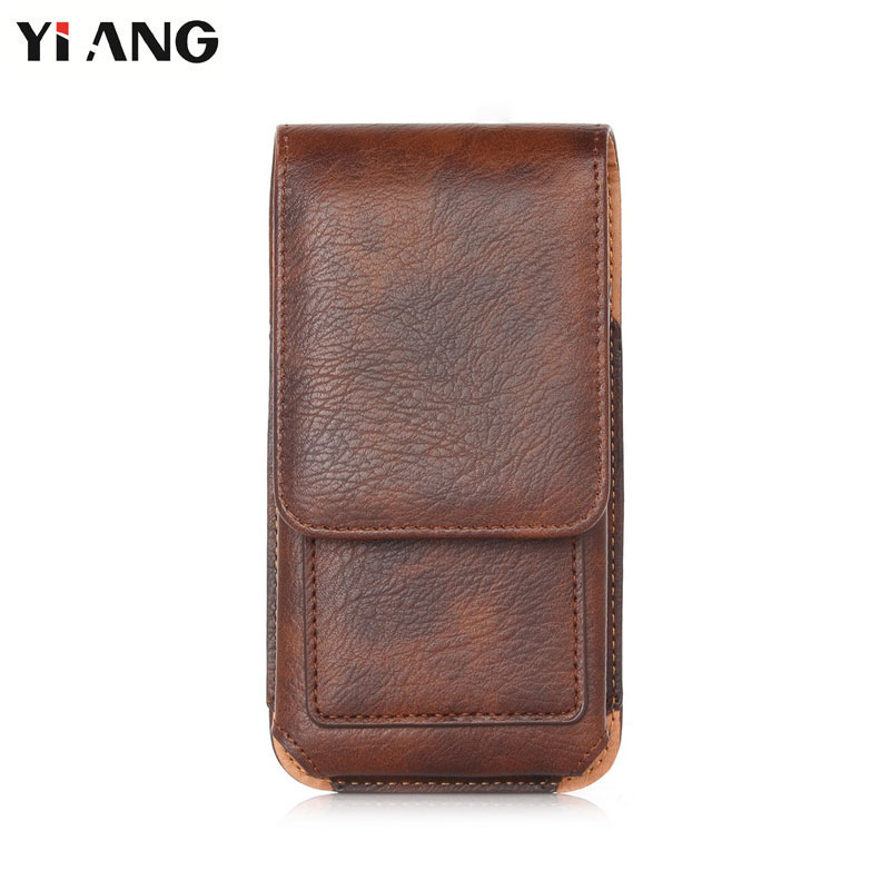 YIANG Waist Bag Men PU Leather Litchi Pattern 360 Flip Mobile Phone Bag Waist Bag Retro Belt Clip Bag Leather Belt Pouch Black high quality zealot b5 bluetooth wireless headphones foldable tf card over ear hd headphone headsets with mic