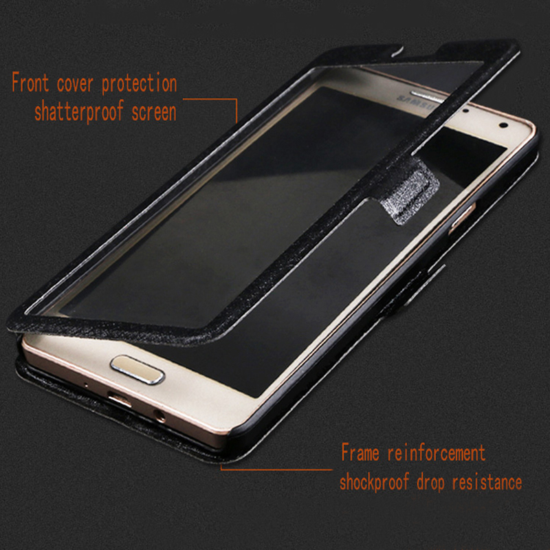 QIJUN Flip Cover For Huawei Honor 4A Honor 4C Pro 4X honor4 Play Luxury Stand Front Transparent View Window Case in Flip Cases from Cellphones Telecommunications