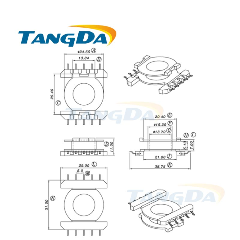 tangda eq eq30 type 5 5 pin 10p bobbin magnetic core   skeleton ferrites power transformer