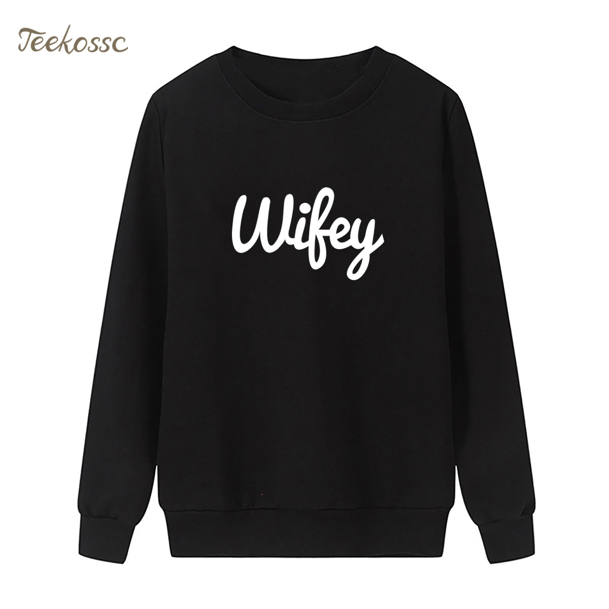 New Arrival WIFEY Letters Print Sweatshirt Casual Funny Hoodie Winter Autumn Women Lasdies Pullover Loose Fleece Brand Clothing