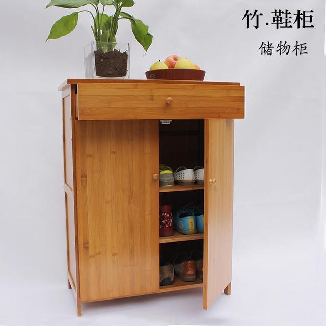 Shoe Door Entrance Hall Lockers Bamboo Floor Cabinet With Drawers