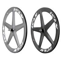 Ican 탄소 트랙 휠 5 스포크 wheelset 3 k 매트 전체 탄소 자전거 wheelset ican 로고 탄소 도로 자전거 바퀴 세트 s5