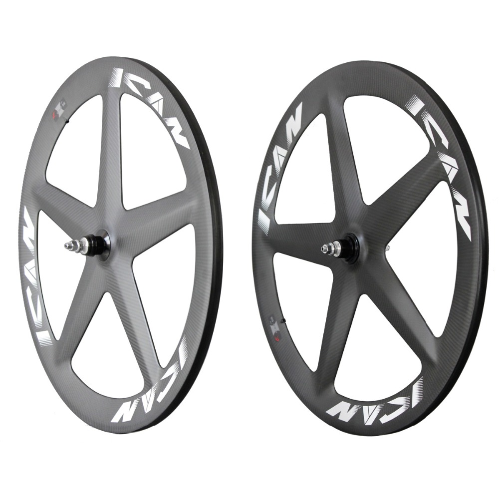 Ican carbon track <font><b>wheels</b></font> <font><b>5</b></font> <font><b>spokes</b></font> wheelset 3K matt full carbon bike wheelset with ICAN logos carbon road bike <font><b>wheel</b></font> set S5 image