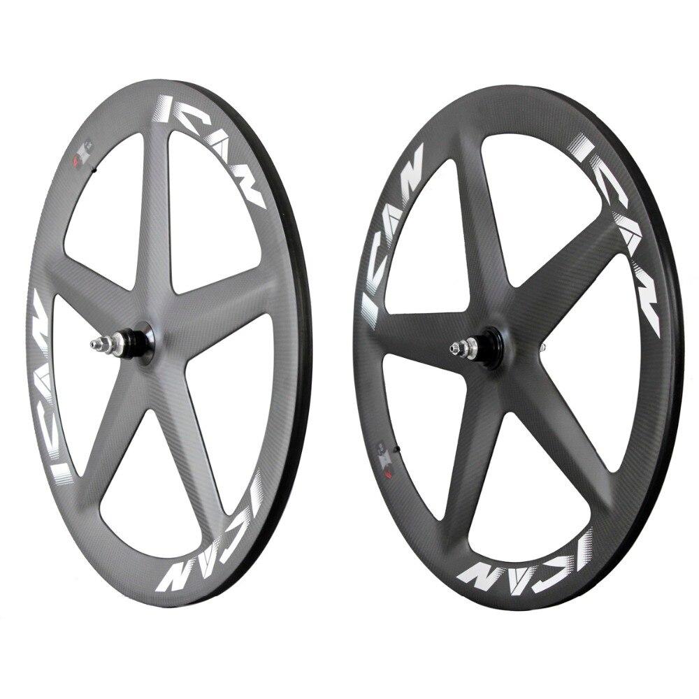 Roues de piste en carbone 2016 ican 5 roues à rayons 3K roues de vélo en carbone mat avec logos ICAN ensemble de roues de vélo de route en carbone S5
