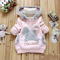 2015 Baby girls Coat Kids Warm Winter Outerwear Children Hooded Jacket bunny sweater Pink&Gray 2-6Y
