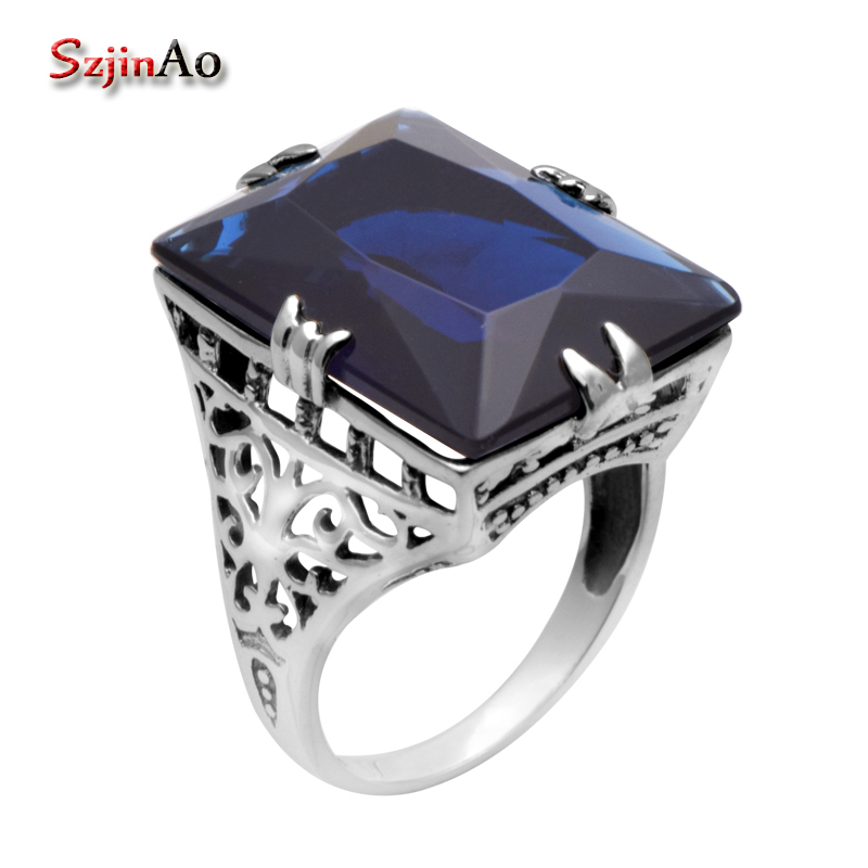 Szjinao Wholesale 925 Sterling Silver Jewelry Vintage Sapphire Ring 925 Sterling Silver Rings for Women Victoria StyleSzjinao Wholesale 925 Sterling Silver Jewelry Vintage Sapphire Ring 925 Sterling Silver Rings for Women Victoria Style