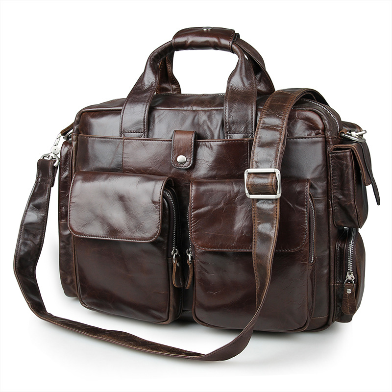 Vintage Coffee Real Skin Genuine Leather Men Briefcase Man Messenger Bags Business Travel Bag Portfolio #M7219