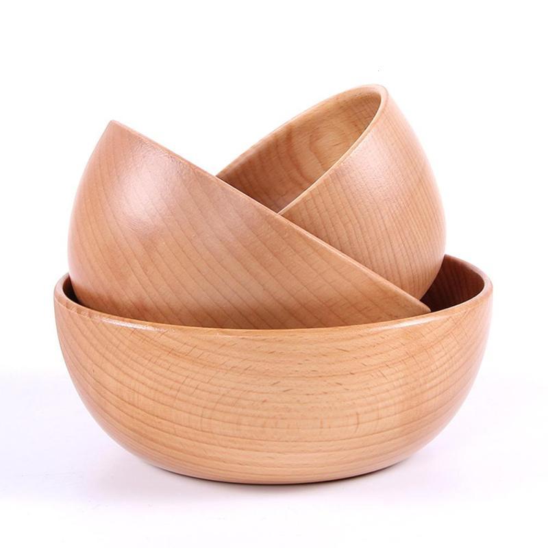 Natural Handmade Wooden Salad Bowl Large Round Wood Salad