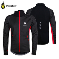 WOLFBIKE черная флисовая ветронепроницаемая/водонепроницаемая теплая футболка для велосипедистов с длинным рукавом, велоодежда с отражателям...