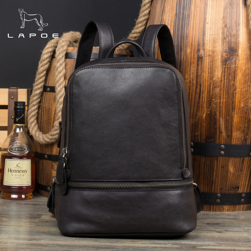 LAPOE Women Backpack Genuine Leather School Backpack Bag For Teenagers Girls Design Men Casual Daypacks mochila male New hot sale women s backpack the oil wax of cowhide leather backpack women casual gentlewoman small bags genuine leather school bag