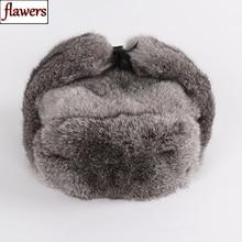 New Russian Winter Unisex Real Rabbit Fur Bomber Hat Men War