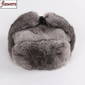 Image 1 - Nowy rosyjski zima Unisex prawdziwe królik futro bombowiec kapelusz mężczyźni ciepłe 100% naturalne futra królika kapelusze męskie pełna Pelt futro czapka z futra królika