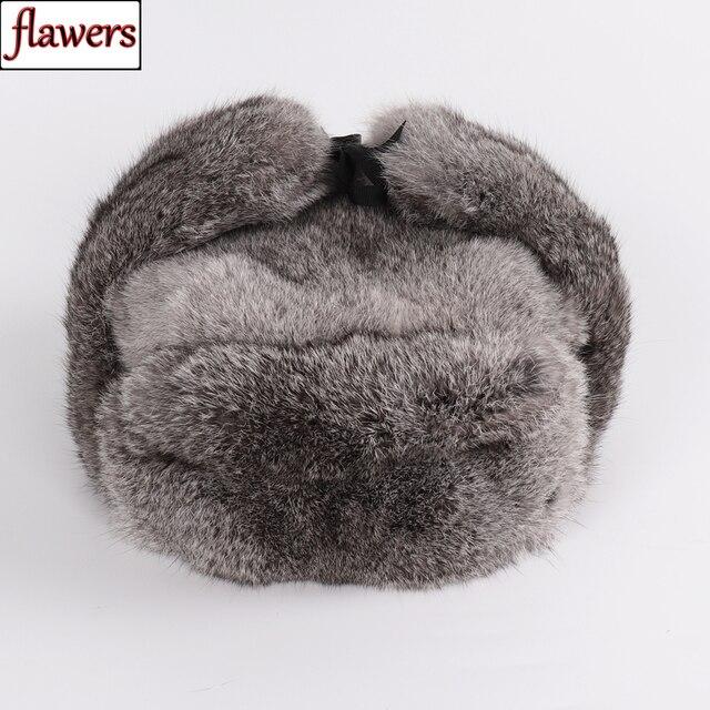 Nowy rosyjski zima Unisex prawdziwe królik futro bombowiec kapelusz mężczyźni ciepłe 100% naturalne futra królika kapelusze męskie pełna Pelt futro czapka z futra królika