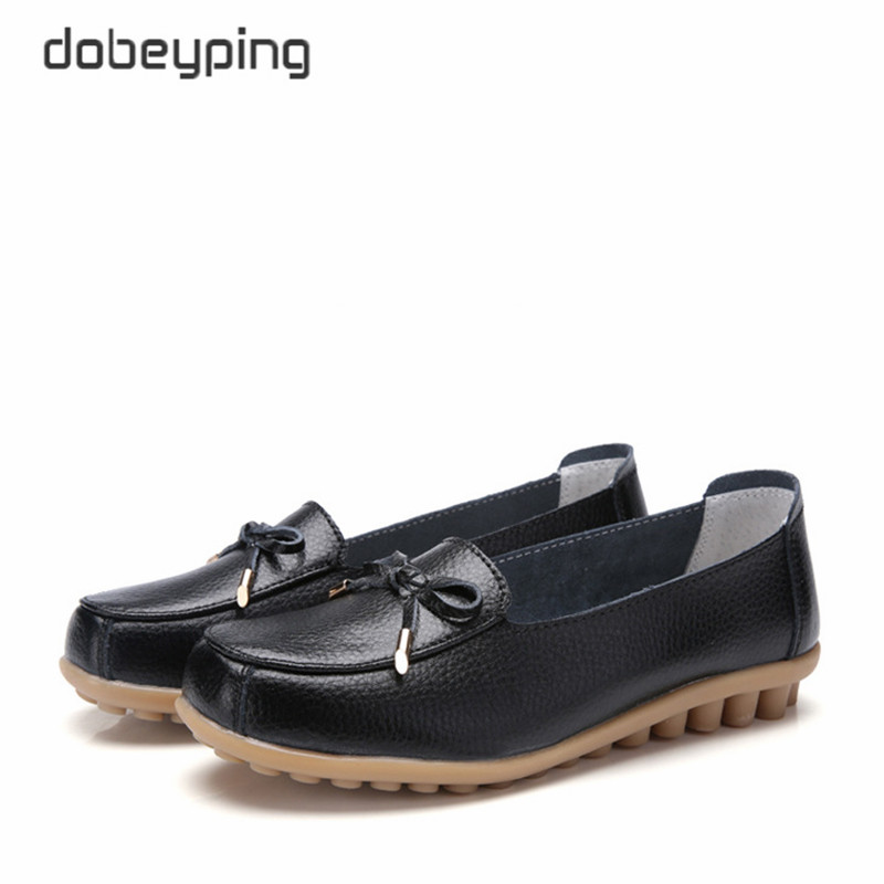 dobeyping New Arrival Genuine Leather Shoes Woman Shallow Women Flats Slip On Womens Loafers Solid Female Shoe Large Size 35 44Womens Flats   -