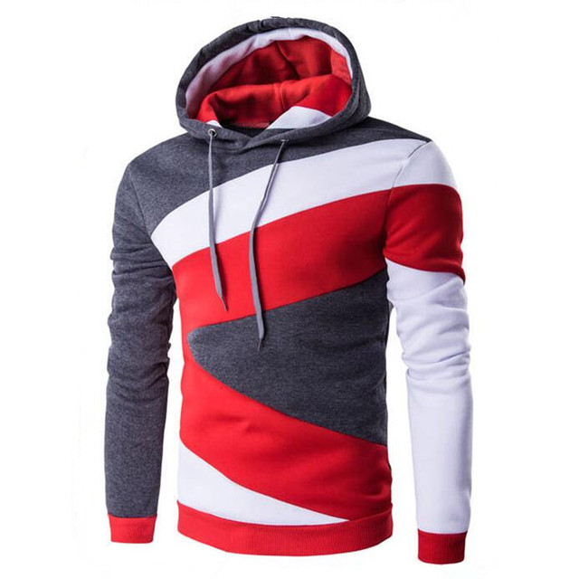 New 2017 Spring Autumn Mens Casual Slim Fit Hooded Hoodies Sweatshirt Sportswear Male Patchwork Fleece Jacket 4 Colors S-3XL