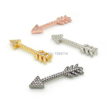 33*8*3 мм Micro Pave Clear CZ Arrow Charm соединитель подходит для мужчин и женщин, делая браслеты ювелирные изделия