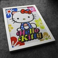Diy 30 40CM Colourful Hello Kitty 5D Diamond Painting Full Embroidery Round Diamond Rhinestone For Room