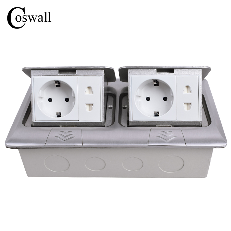 COSWALL All Aluminum Double Panel Pop Up Floor Socket EU Standard Outlet + Universal 2 Hole Jack With Child Protection Door atlantic brand double tel socket luxury wall telephone outlet acrylic crystal mirror panel electrical jack
