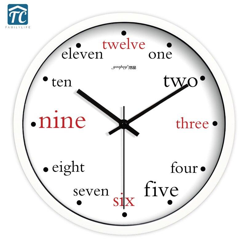 Creative anglais Alphabet salon calme Quartz horloge murale décoration de la maison chambre mode créative horloges murales