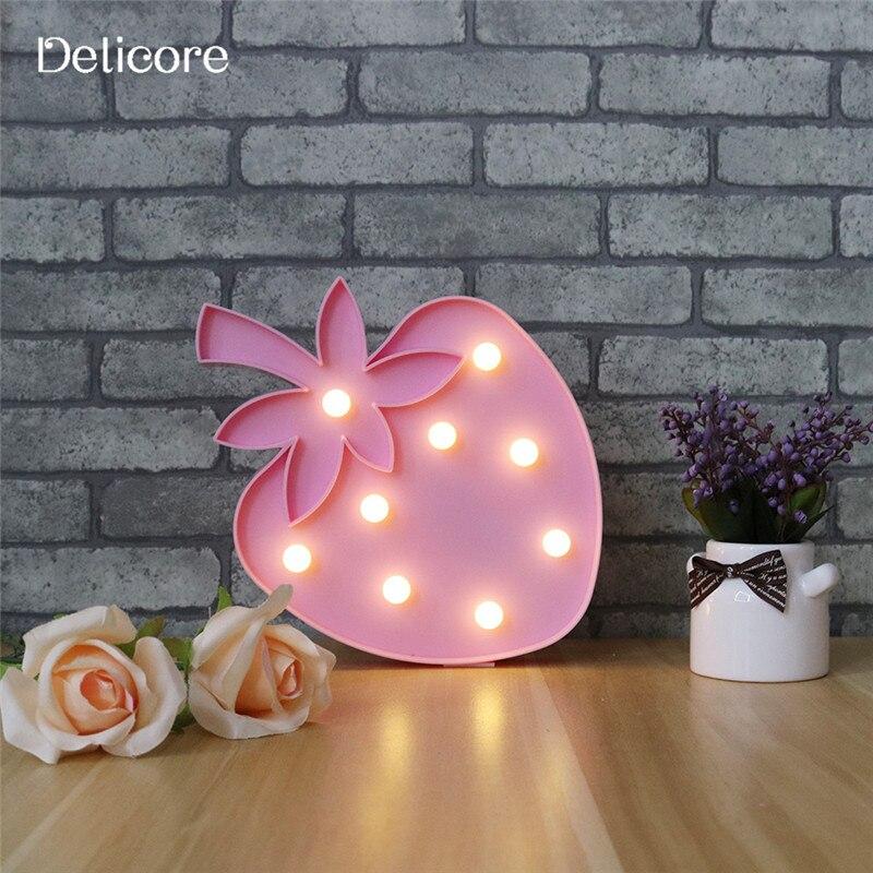 Delicore розовый письмо LED знаковое событие ночник для свадебного декора клубника свет в помещении стены украшения загораются S135