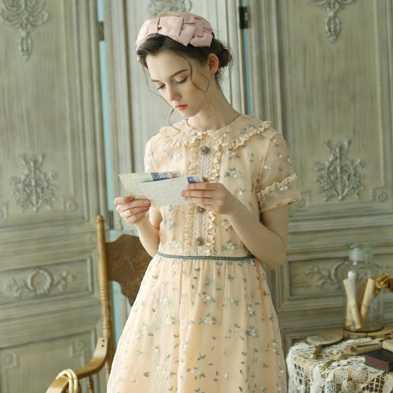 Линетт's CHINOISERIE демисезонный для женщин Винтаж милые платья с вышивкой