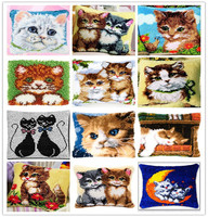 Zestaw Poduszki Mata poduszki Zatrzask Haka DIY Craft Cat 42 CM przez 42 CM Poduszka Haft Cross Stitch Robótki Szydełkowania