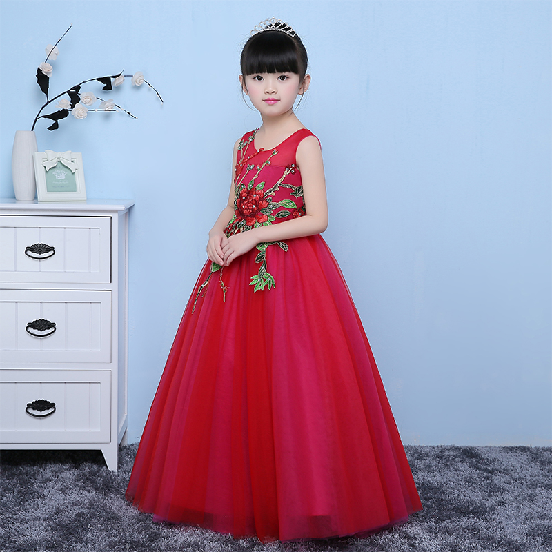 2017New 3-13Y Girl Dresses Ball Gown Luxury Princess Red Dress Children Christmas Summer Girl Party Embroidery FlowerLace Dress free shipping new red hot chinese style costume baby kid child girl cheongsam dress qipao ball gown princess girl veil dress