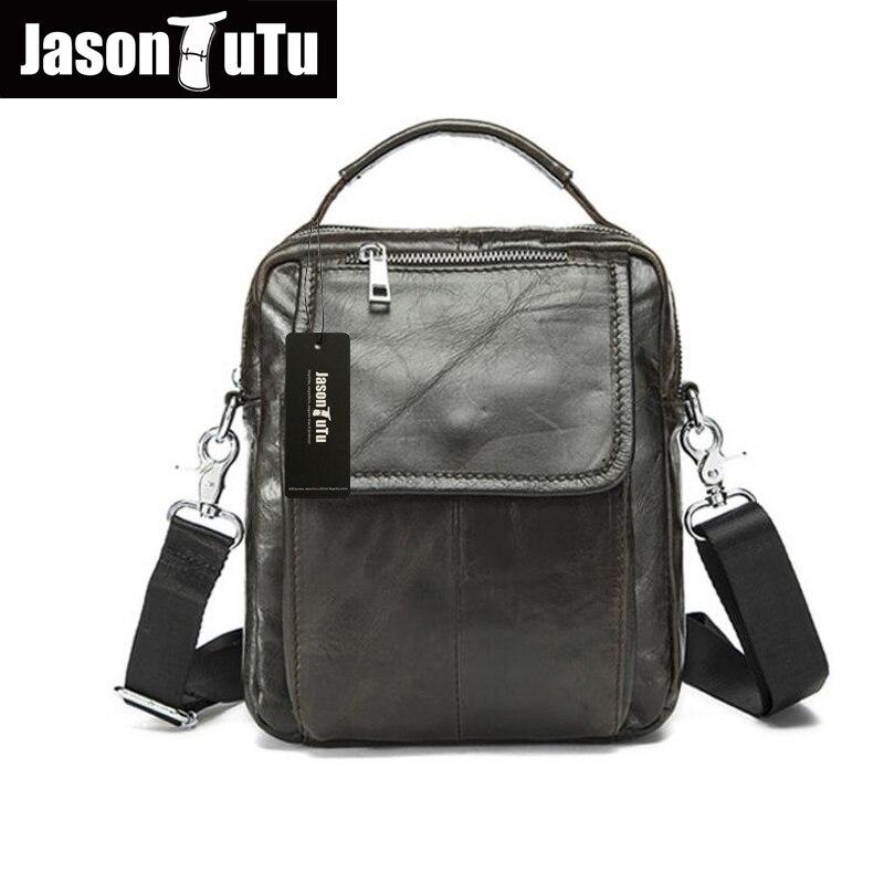 ФОТО JASON TUTU Genuine Leather Men bags Brand Designer Handbags black small Shoulder bag Men Messenger Bags Briefcase HN100