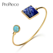 Здесь можно купить   PrePiece New Stylish Gold Plated Lapis Lazuli Turquoise Stone Adjustable Cuff Bracelet & Bangle Unique Jewelry for Women PB0167 Fashion Jewelry
