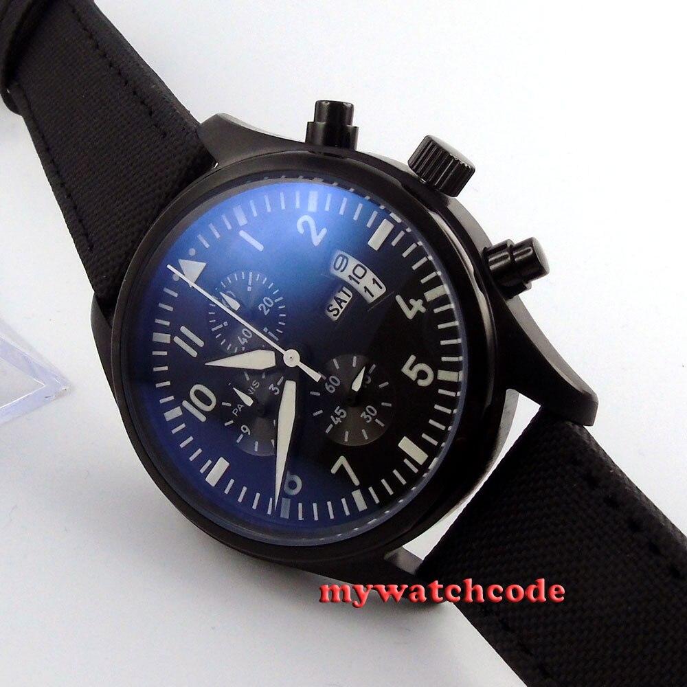 42mm parnis black dial PVD day date quartz Full chronograph mens watch P404 цена