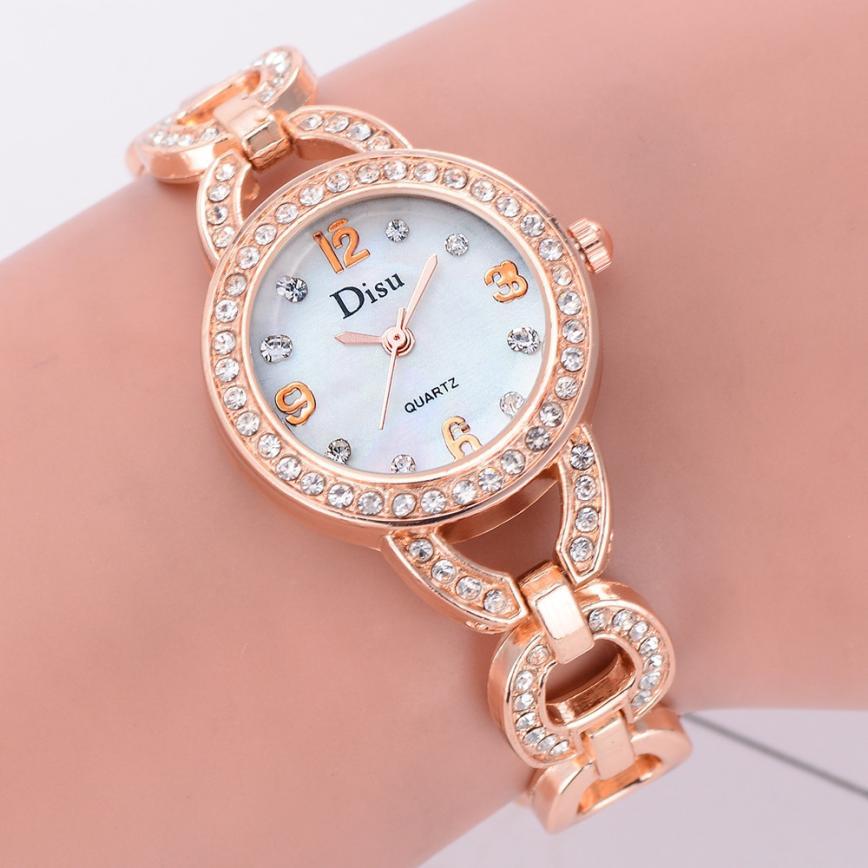 Quartz Wristwatches Reloj Mujer Fashion Ladies Dress Watch Rose Gold Rhinestone Bracelet Watches Women 18JAN19 women s stylish punk rivet rhinestone inlaid pu band quartz bracelet watch blue gold 1 x 377