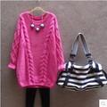 2016 Autumn New Fashion Wild Sleeve Cocoon-Shaped Ferrule Angora Sweater Pregnant Women Free size 151882Y