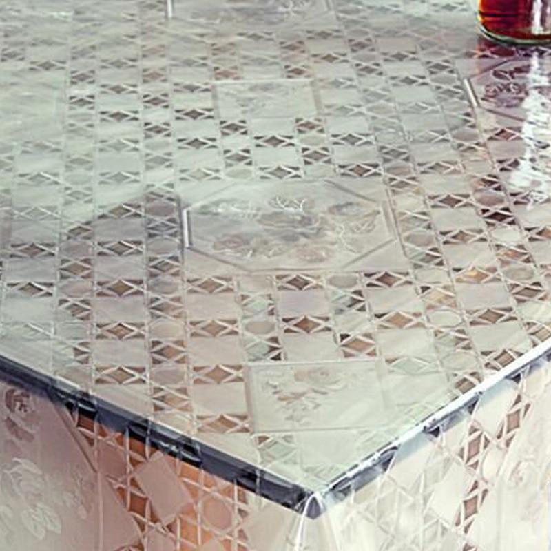 Karšto pardavimo baltas ir skaidrus plaid stalo audinys PVC aliejus - Namų tekstilė - Nuotrauka 2