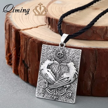 QIMING Valknut Norse Viking Necklace Women Bird Animal Pendant Odin Symbol Huginn Munin Raven Eye Punk Men Necklace